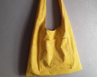 Yellow cotton shoulder bag
