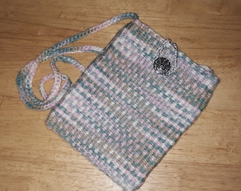 Small shoulder purse for adults or teens handwoven