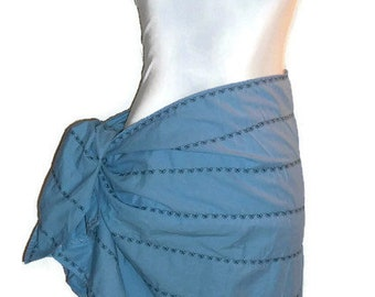 Blue short pareo swimsuit coverup beach wrap