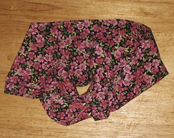 Retro style wide headband small pink floral print