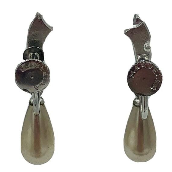 Vintage Marvella Faux Pearl & Rhinestone Dangle S… - image 10