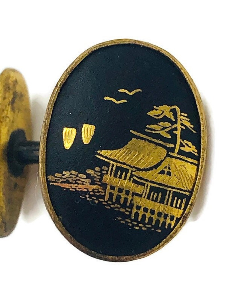 Antique Japanese Damascene Gold Black Etched Cufflinks Bean Back ...