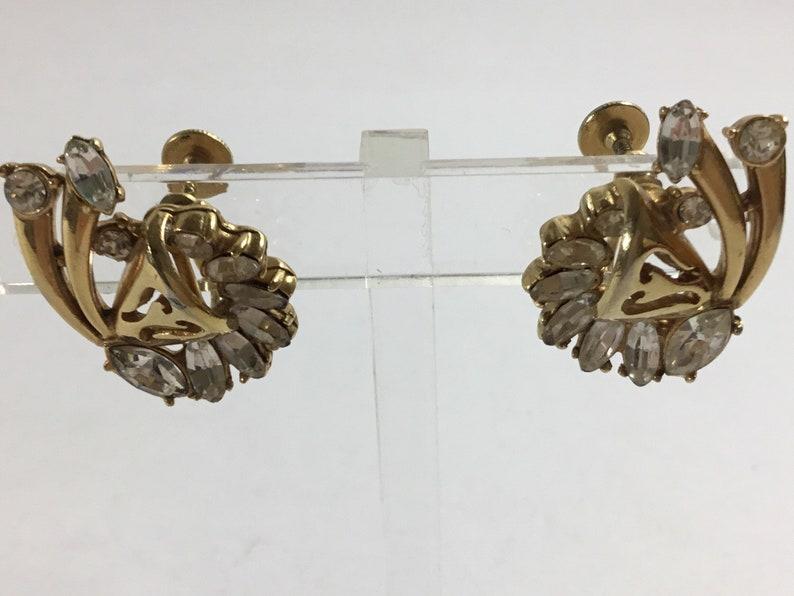 Hollycraft 1952 Vintage Art Deco Gold Tone Rhinestone Screw Back Clip On Earrings