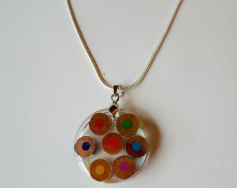 Colored pencil necklace pendant