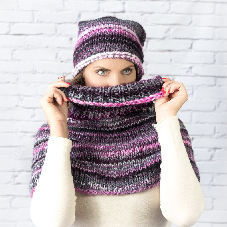 c49c3fc13e5ae Purple chunky knit beanie with pompom and cowl set scarf
