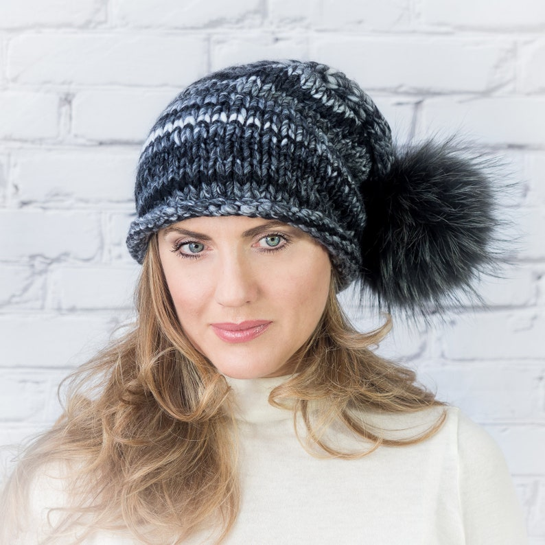 3430a9c5d42 Grey chunky knitted hat with pompom for women