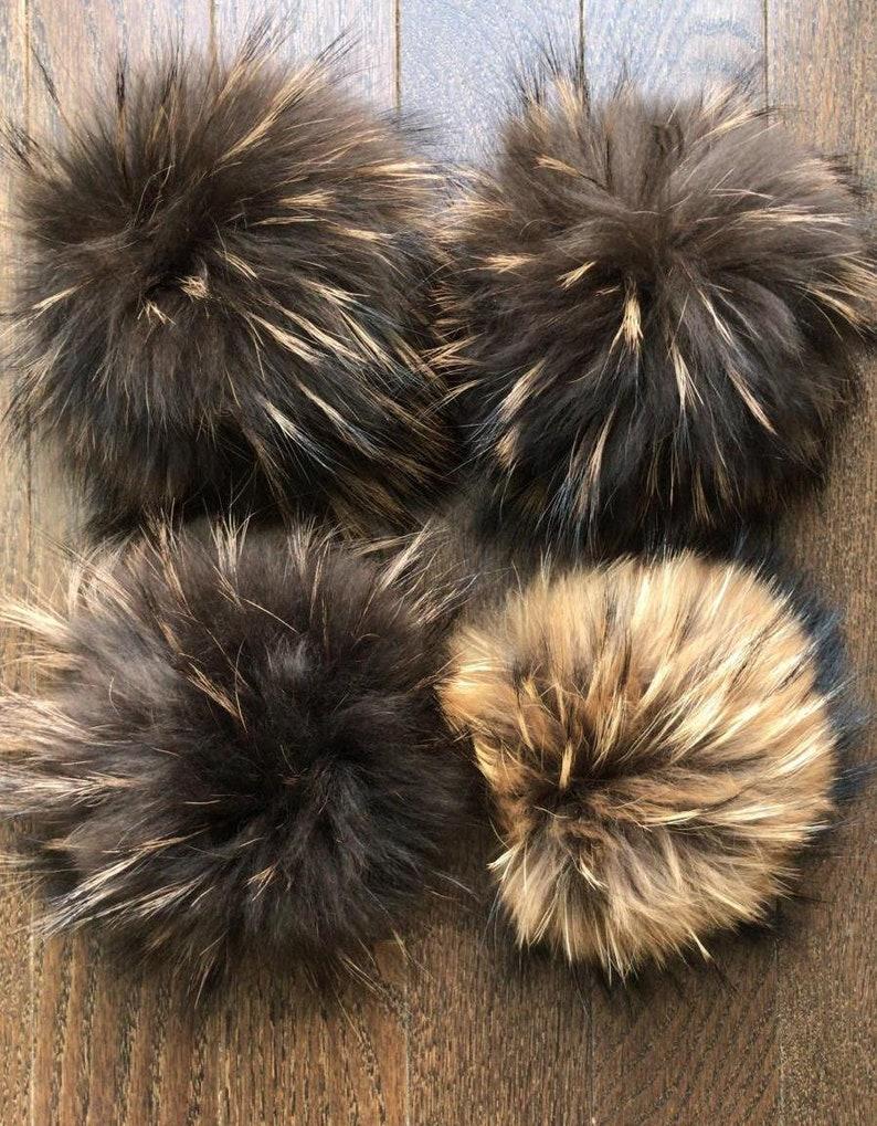 44bb5b2b93bd6 Real raccoon fur pom pom with snap button Large genuine fur