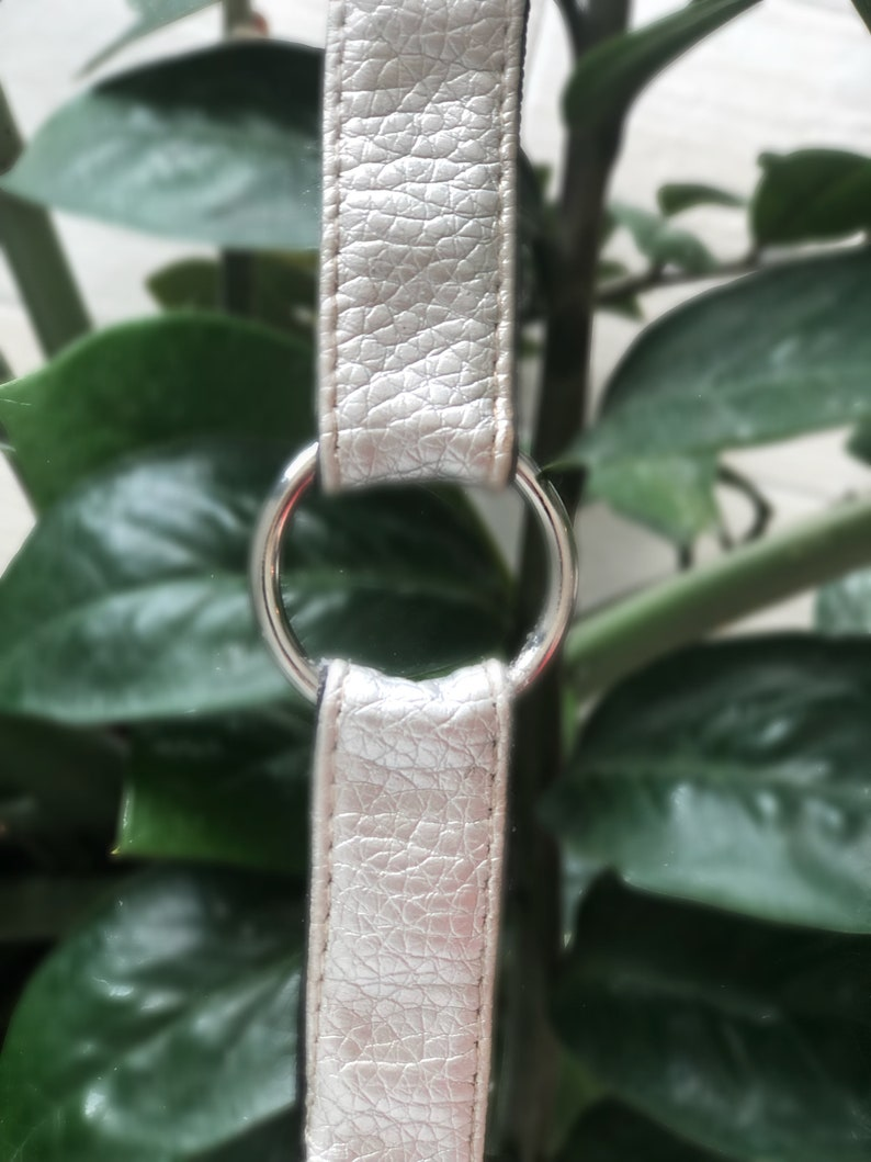 Pride etc. Upcycled Silver Faux Leather O Ring Choker for Men /& Women Everyday wear Raves Music festivals