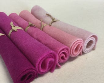 5 Piece Hand Dyed Felt Pack - Pinks