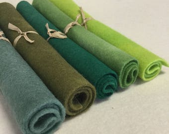 5 Piece Hand Dyed Felt Pack- Greens