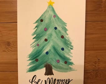 Be Merry Christmas Tree 5X7 Watercolor