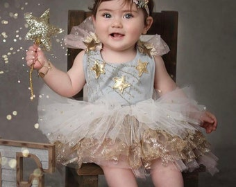 Christmas Sitter Babygirl Starry Tulle Ruffles Romper 12-18 Months Size Ready to ship Pink Gold Gray