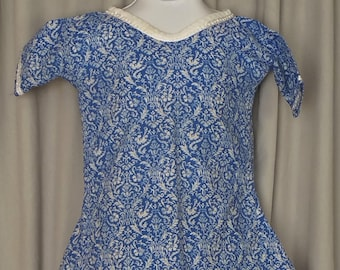 Medieval Tunic - Toddler Girl's - SCA - Blue & White Floral w/ White Ribbon Trim