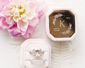 Metal Engraved 18 Colors Ring Box | Engagement Ring Box | Wedding Ring Box | Velvet Ring Box | Proposal | Double Slot | Ring Bearer Box |