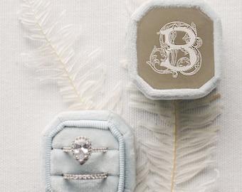 18 Colors Metal Engraved Ring Box | Engagement Ring Box | Wedding Ring Box | Velvet Ring Box | Proposal | Double Slot | Ring Bearer Box