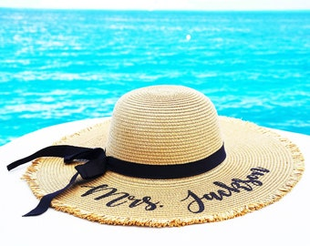 Floppy Sun Hat | Custom Christmas Gifts | Personalized Holiday Gifts for Her | Beach Hat for Honeymoon | Gifts for Girlfriend |Gifts for Mom