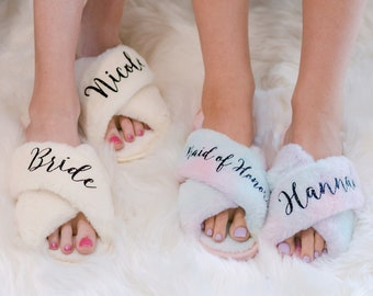 Personalized Slippers for Women | Best Friend Gifts | Custom Christmas Gifts | Holiday Gifts for Girlfriend | Gift for Her | Fluffy Slippers