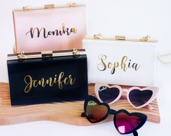 Personalized Acrylic Clutch for Bride | Monogrammed Purse for Bridesmaid | Custom Wedding Gifts for Her | Bachelorette Party Favors