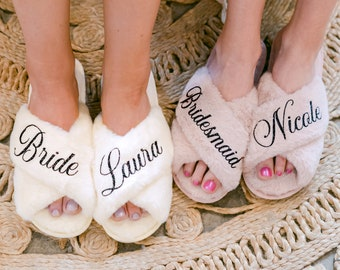 Bridesmaid Proposal | Personalized Fluffy Slippers | Custom Name Wedding Gifts | Bridesmaids Gifts  | Bachelorete Party | Bridal Party Gifts