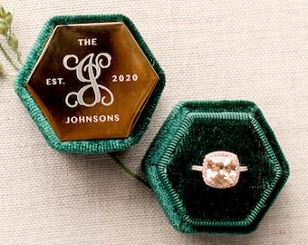 Single Slot Ring Box | Proposal Ring Box | Engagement Ring Box | Wedding Ring Box | Velvet Ring Box | Ring Bearer Box | Monogram Ring Box
