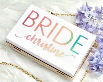 Bride Gift Clutch | Personalized Acrylic Clutch | Bridal Shower Gift | Mrs Clutch | Bridal Shower Favors | Personalized Gift for Bride