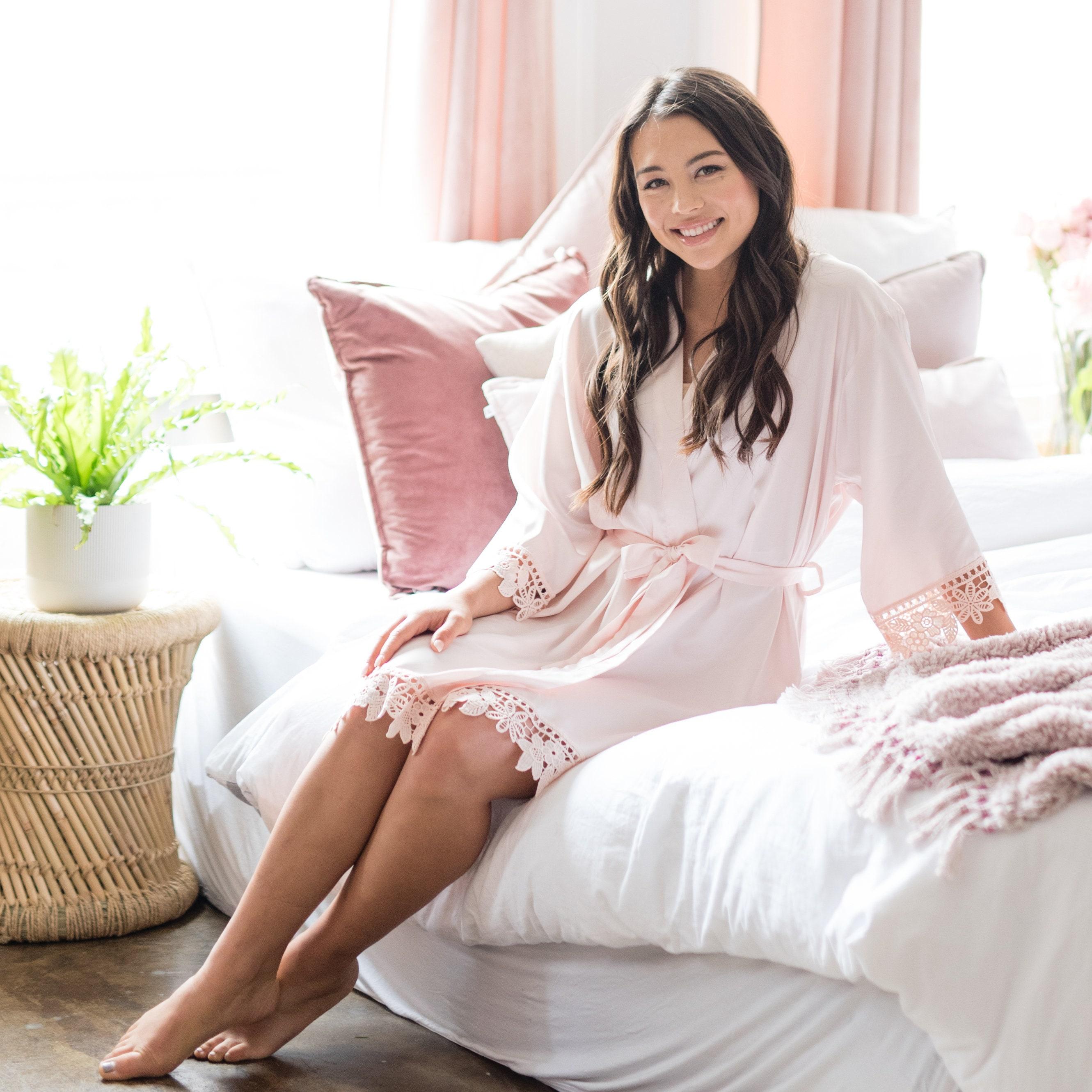 Silky Chunky Lace Robe  Bridesmaid Robes  Bridal Robe  image 7
