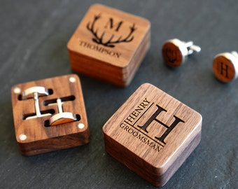 Groomsmen Gift Cufflinks   Personalized Wooden Cufflinks   Gift for him   Best Man Gift   Custom Gift for Dad   Bachelor Party Gift