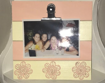 Yellow and Pink Wooden Clipboard Frame