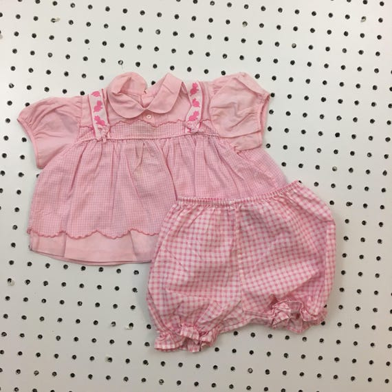 Baby Girls Boys Blue /& Pink Gingham Romper /& Hat Sets