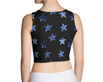 alternative clothing second hand clothing stars celestial Star Print Long Sleeve Crop Top size large THIRDHANDTHRIFT