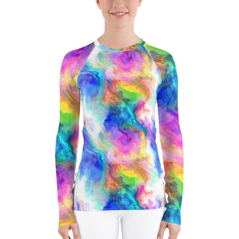 Fitted Long-sleeve Tee Gift for Her Rainbow Psychedelic Athletic Women/'s T-shirt with Rash Guard Birthday Gift LGBTQ Rainbow