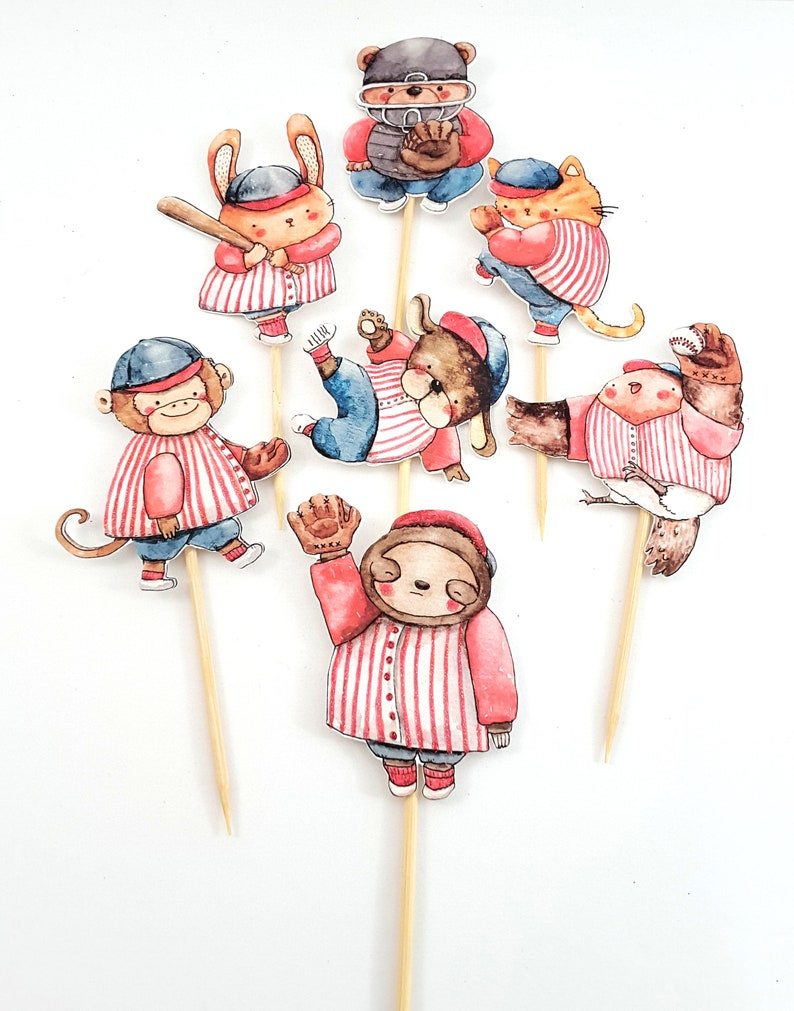 Watercolor Animal Baseball Team Cupcake Toppers Party Decor image 0