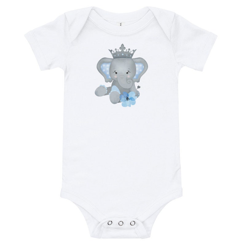 Personalized Baby Bodysuit Featuring Adorable Elephant with image 0