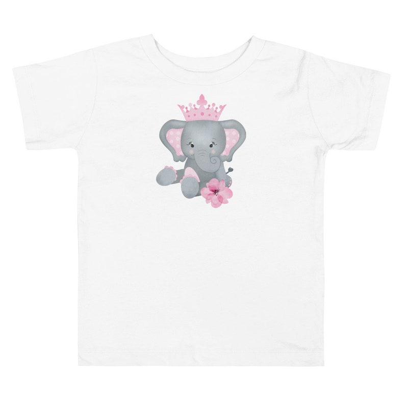 Personalized Toddler Girl's Tee with Pink & Gray Elephant image 0