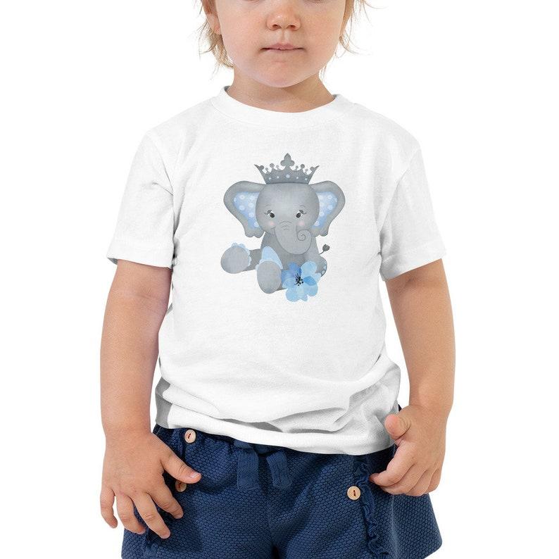 Personalized Toddler Tee with Blue Elephant Customized image 0