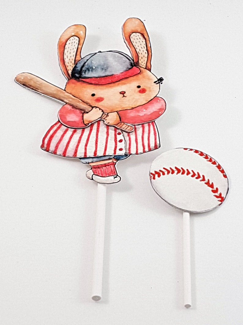 Baseball Cake Topper 2 Piece Set with Watercolor Bunny Rabbit image 0