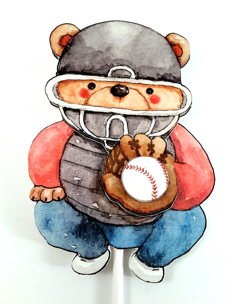 Baseball Cake Topper with Watercolor Teddy Bear Catcher image 0