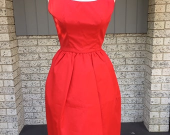 a523aee6d6f0f Vintage 1950s red taffeta cocktail dress Aus size 4 or 6 party spring  carnival