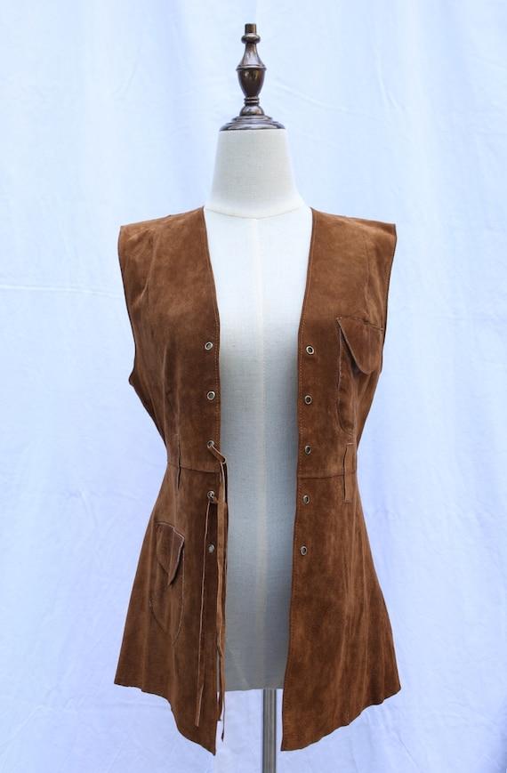 Vintage 70s retro suede leather vest