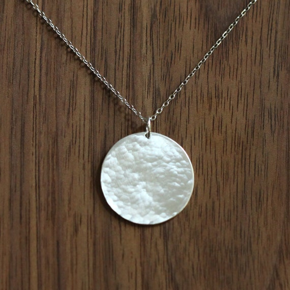 Handmade. Large hammered disc silver clip-on charm Sterling silver 925