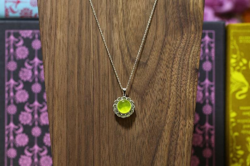 NATURAL PREHNITE Valentine Golden Prehnite Necklace Green Prehnite Necklace Gift Flower Prehnite Pendant Golden Prehnite Pendant