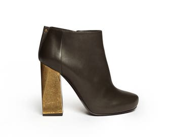 LANVIN metal heel leather ankle boot