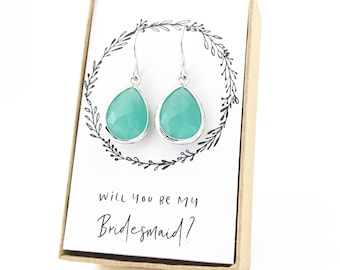 Mint Silver Teardrop Earrings, Mint Earrings, Mint Teardrop Earrings, Turquoise Silver Earrings, Turquoise Bridesmaid Earrings, Mint Jewelry