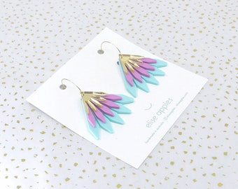 In bloom dangle / drop hoop earrings | Mint, sour grape and gold mirror | Layered laser cut acrylic | Handmade