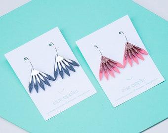 Mini in bloom dangle / drop hoop earrings | Layered laser cut acrylic | Handmade | Choose colour