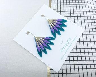 In bloom dangle / drop hoop earrings | Dark teal, purple and gold | Layered laser cut acrylic | Handmade
