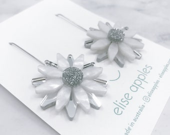 Flora pop dangle earrings | Silver and white marble | Laser cut acrylic | Handmade