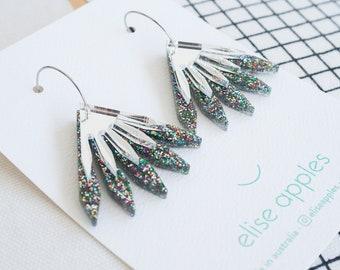 Mini in bloom dangle / drop hoop earrings | Confetti glitter | Layered laser cut acrylic | Handmade