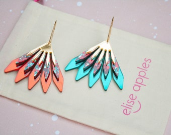 In bloom dangle / drop hoop earrings | Christmas red and teal glitter and gold mirror | Layered laser cut acrylic | Handmade