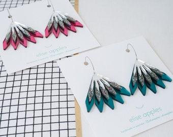 In bloom dangle / drop hoop earrings | Confetti glitter and mirror | Layered laser cut acrylic | Handmade
